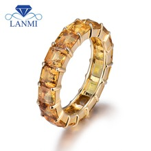 New Princess Cut 4x4mm 14k Yellow Gold Citrine Eternity Band Ring, Natural Citrine Jewelry SR141
