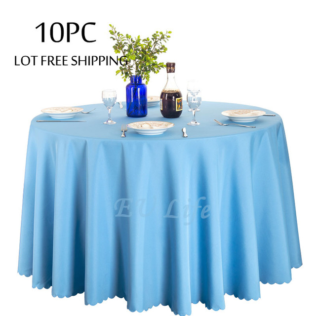 10PC/Lot Wedding Table Cloth For Marriage Birthday Party Hotel Decor Solid  Color Round White