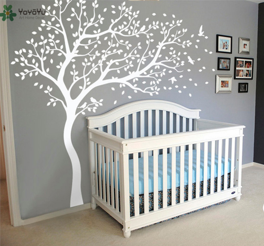Wall Decal Vinyl Sticker White Tree Large Tree Wall Decor Desgin Color Wall Mural Nursery Kid