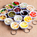 Chinese Blue and white porcelain Food Bowl Mini bag pendant Simulation Food Key Chains noodle Creative Keychain Women Jewelry