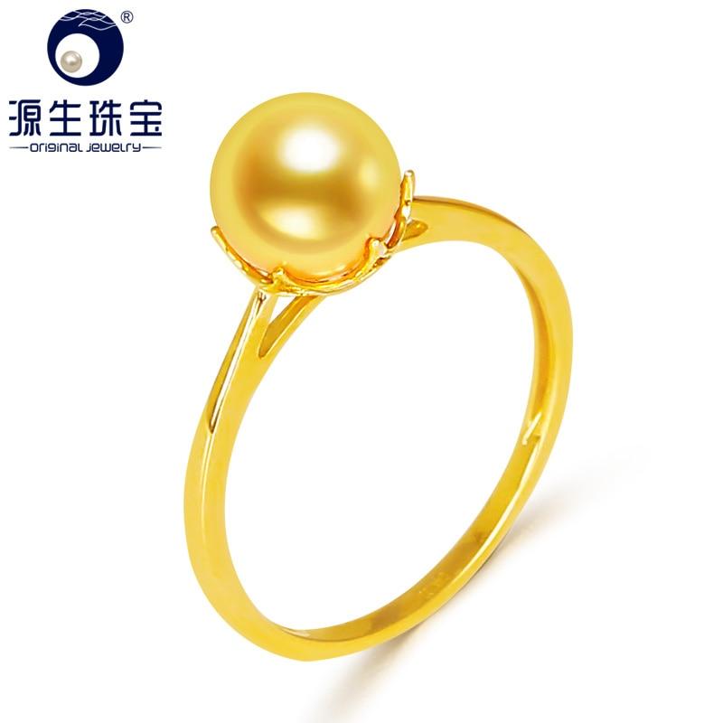 YS 14k Solid Gold 7 7.5mm japoński Akoya Pearl pierścień mała biżuteria ślubna w Pierścionki od Biżuteria i akcesoria na  Grupa 1