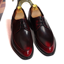 British fashion business office formal dress genuine leather shoes breathable pointed-toe flats oxfords shoe gentlemen zapatos