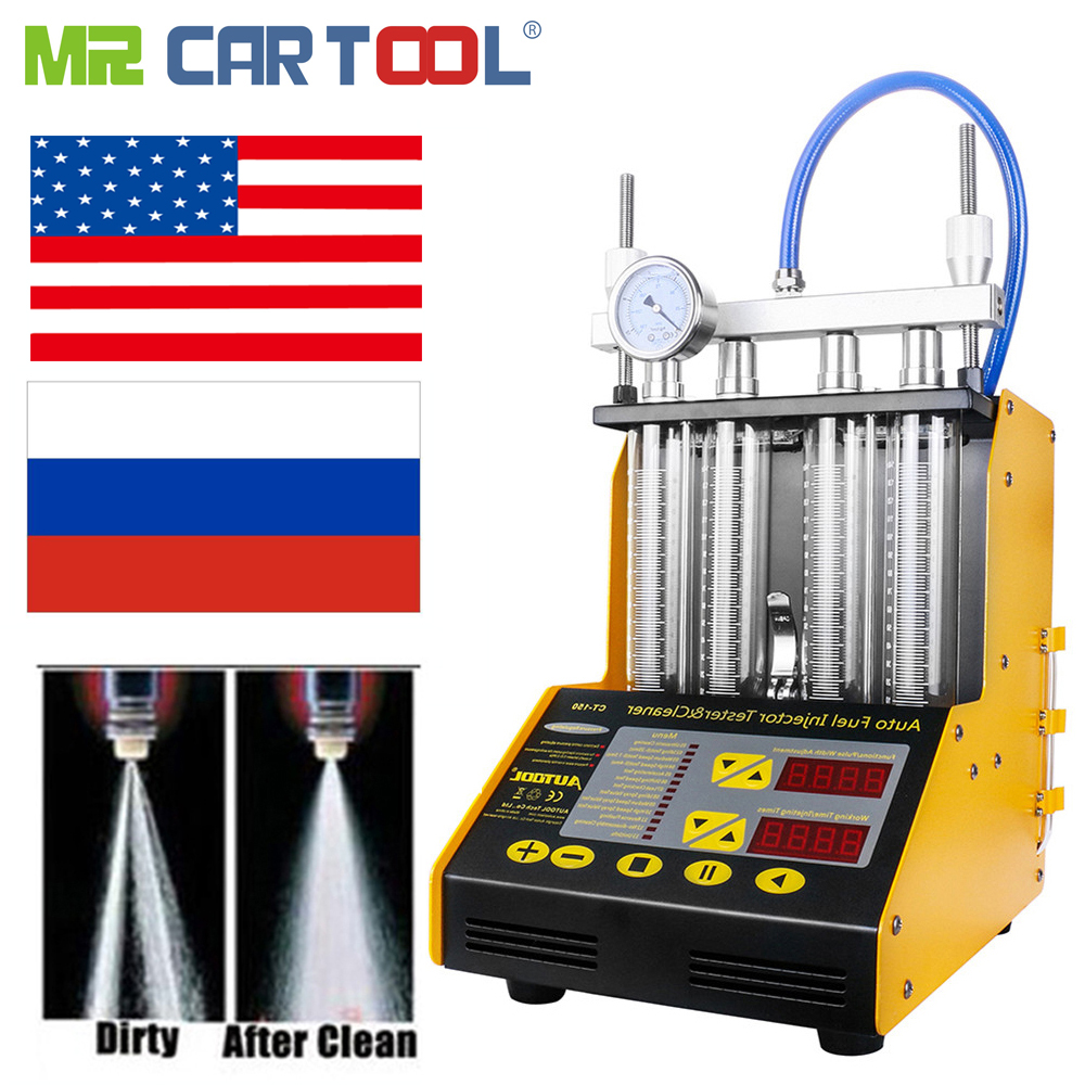 MR CARTOOL CT150 Car Fuel Injector Clean Machine Testers 2 IN 1 Common Rail Injectors Tester