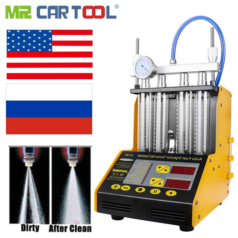 SENHOR CARTOOL CT150 Injector De Combustível Do Carro Máquina Limpa Injetores Common Rail Testador Testadores 2 EM 1 com 4 Pcs Carros conector Injector