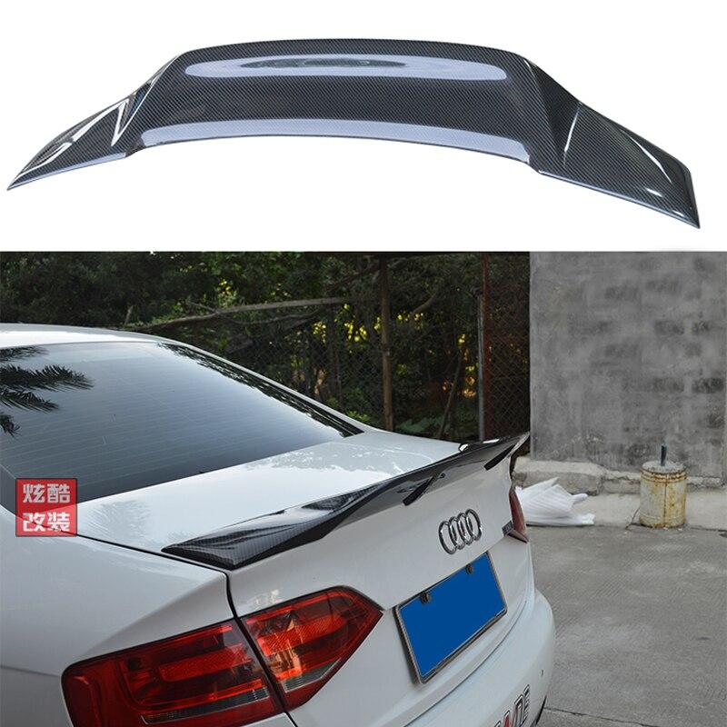 For Audi A4 B8 B8.5 Car Decoration High Quality Carbon Fiber Rear Trunk Spoiler 2009 2012 R Style