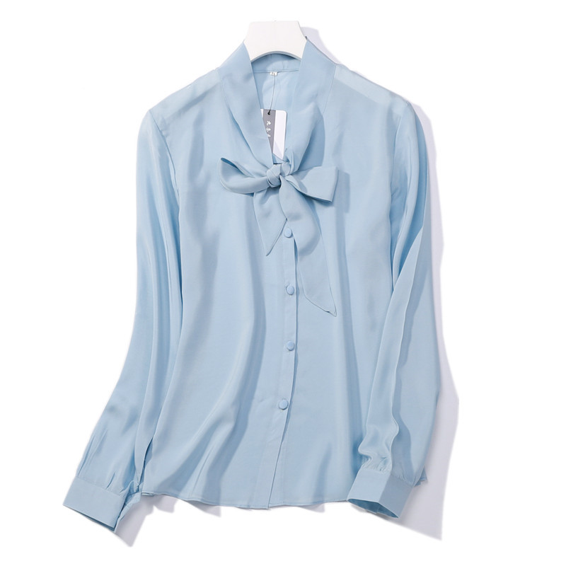 afe07dff084 100% natural silk Blouses OL Light Blue Long Sleeve Real Silk Blouse  business shirt women