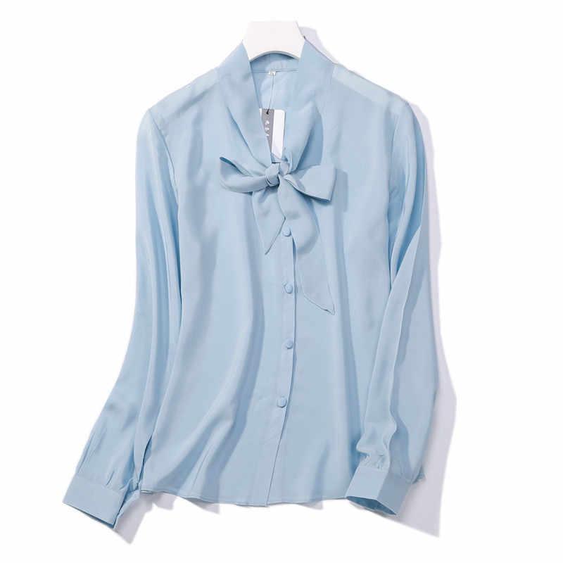 5f22c4c8103d8 100% natural silk Blouses OL Light Blue Long Sleeve Real Silk Blouse  business shirt women
