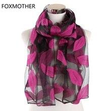 FOXMOTHER Nữ Scarfs Đỏ Xanh Màu Thêu Lá Ren Khăn Choàng Cổ Hoa Cắt Hoa Lá Khăn Choàng Hồi Giáo Hijab Sjaal Scarfs Nữ