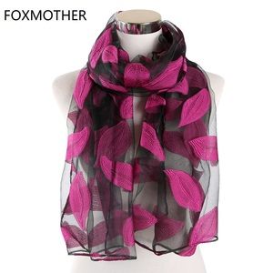 Image 1 - FOXMOTHER Women Scarfs Red Green Color Embroidered Leaves Lace Scarves Cut Flower Leaf Shawl Muslim Hijab Sjaal Scarfs Ladies