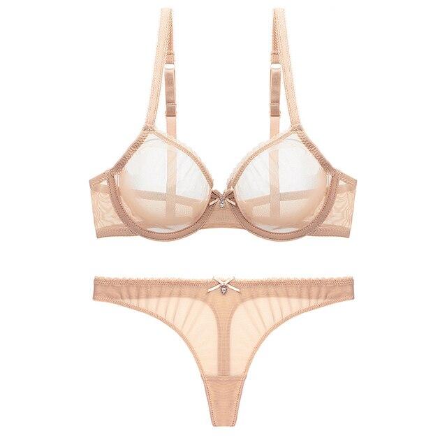 Varsbaby sexy lace unlined underwear set solid transparent three quarters yarn thong bra set 2