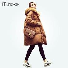 women winter thick parka coffee fur hooded long jacket coat padded-cotton Zipper full sleeve coat solid loose warm wadded jacket