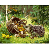 DIY Digital Oil Painting Frameless Canvas Home Wall Decor Painting By Numbers Wall Painting Hedgehog And