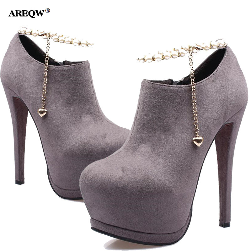 AREQW spring short boots Pearl beaded fine heel women's shoes waterproof platform high-heeled boots woman Sexy nightclub shoes 2016 spring new fashion women hot sale nightclub sexy fine with platform high heeled shoes ol shoes baok 8e36