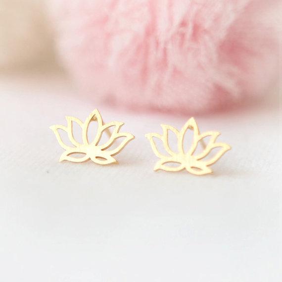 Famous Brand Lotus Earings Stud Earrings Gold Flower Earrings Women
