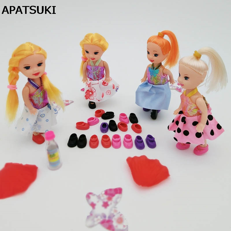 10pairs/lot Doll Accessories Mixed-Color Cute Shoes For Little Kelly Baby Doll 3.5'' 1/12 Mini Dolls Shoes Kids Toy 2016 winter new soft bottom solid color baby shoes for little boys and girls plus velvet warm baby toddler shoes free shipping