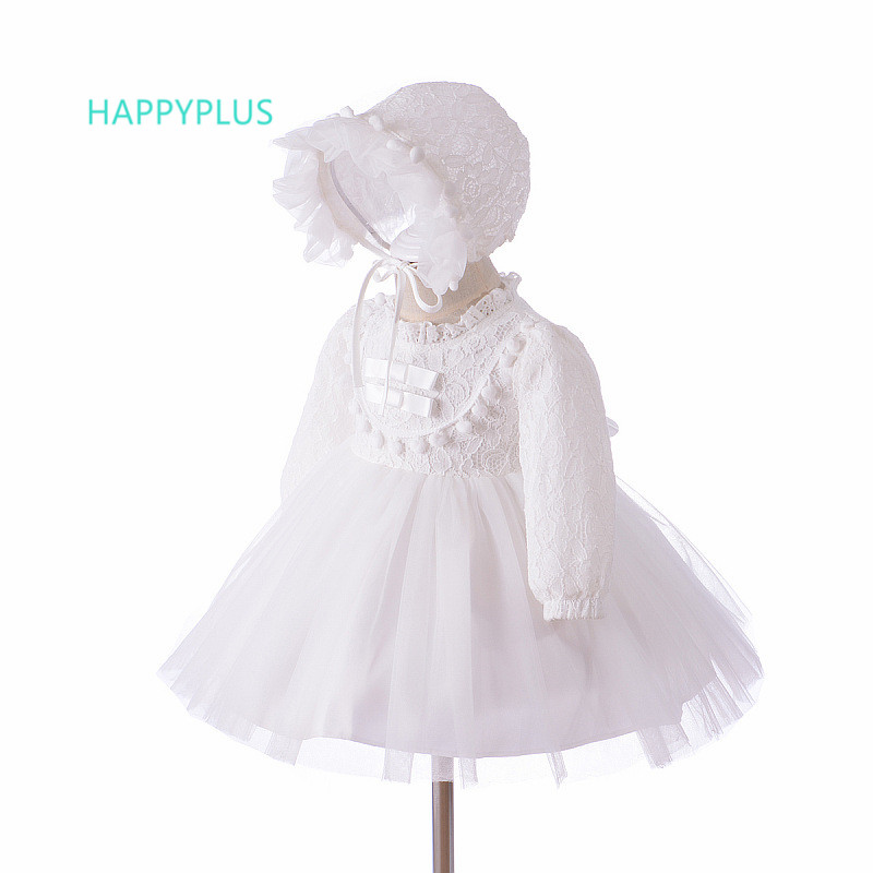 HAPPYPLUS Autumn Long Sleeve Baby Girls Dress For Christening Baptism Dresses For Girls First Birthday Outfit Girl 1 Year 2 Year