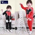 Crianças 2016 primavera seção do menino e meninas das crianças roupas de algodão maré sportswear sweater terno Coreano