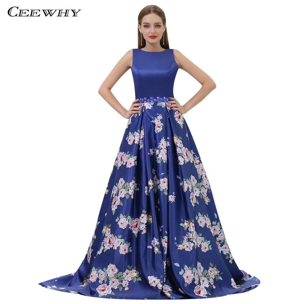 CEEWHY Dos Nu Bleu Royal Robe de Soirée Élégante Robe Perlée Longue Arabe Robe De Soirée Floral Robes De Bal Robe Longue Kaftan