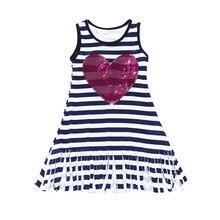 Kaguster Sequined tassel Kids dresses for girls Princess dress unicorn baby girl summer beach tutu Love A-Line Sleeveless