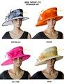 НОВЫЙ 3 цветов Широкими полями Органзы Hat Церковь Hat для кентукки дерби, свадьба, Рас. БЕСПЛАТНАЯ ДОСТАВКА.
