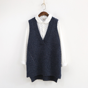 Image 2 - Johnature Women Sweaters V Neck Sleeveless Loose 2020 Autumn New Korean Fashion Hollow Out 4 Colour Casual Tops Vest Sweaters