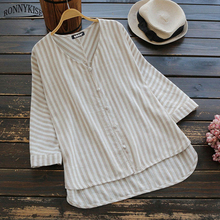 RONNYKISE Striped Long Blouses Womens Fashion Sexy V-neck Cardigans Sumemr Autumn Cotton and Linen Casual Loose