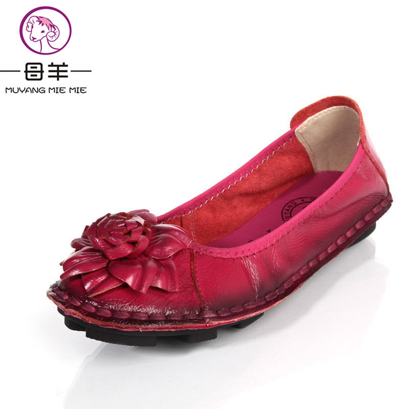 MUYANG Chinese Brands women genuine leather shoes woman Hand sewn leather flats cowhide flexible spring boat shoes women loafer