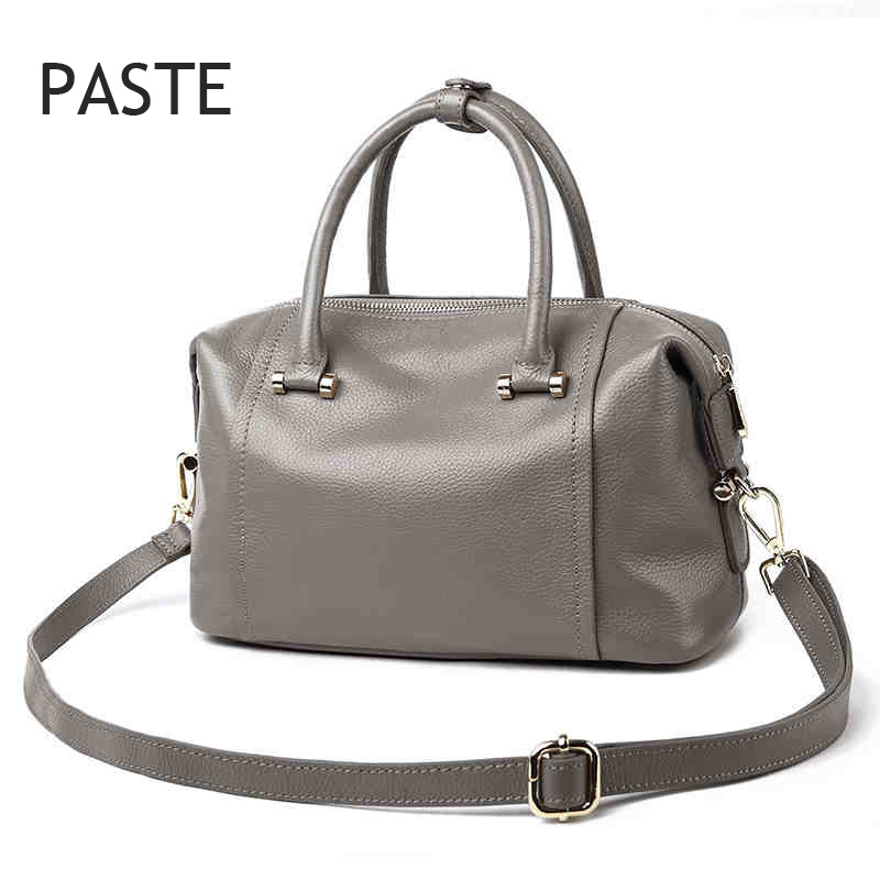2017 Brand Paste luxury Boston bag Designer women handbag genuine patent leather totes shoulder bag female bolsas femininas leftside fashionable 2017 women tassel designer rivet boston bag female handbag woman hand bags shoulder bag with wide strap