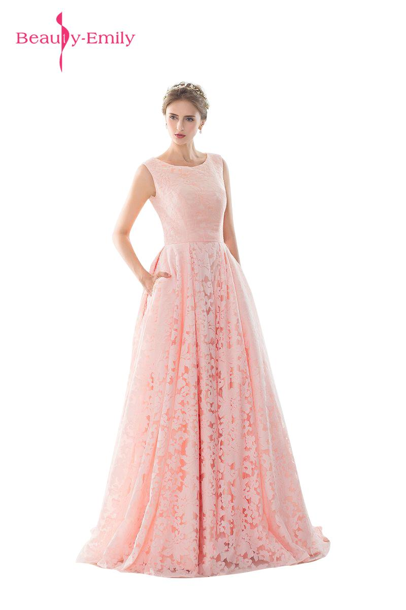 Long Pearl Lace Applique Sleeveless Pink O Neck Floor Length Transparent Formal Wedding Party   Bridesmaid     Dresses   2017