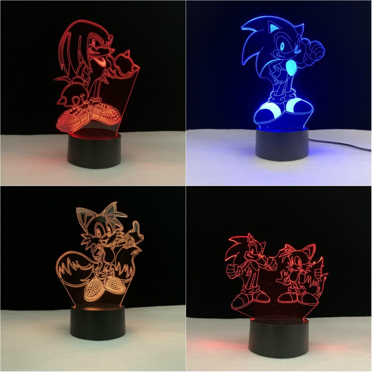 Jeu de dessin animé queues soniques knuckle lampe 3D éclairage LED USB humeur veilleuse enfant jouet multicolore Luminaria cadeau de noël enfants