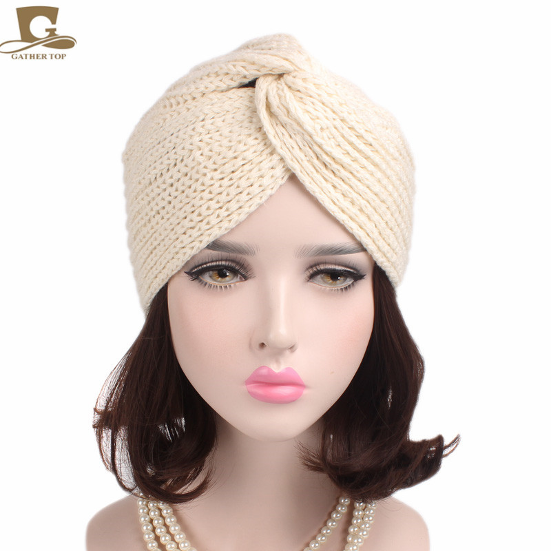 Las nuevas mujeres calientes del invierno turbante Floral suave punto de la Cruz giro árabe abrigo de pelo sombrero gorra Beanie ganchillo Headwrap mujeres cap