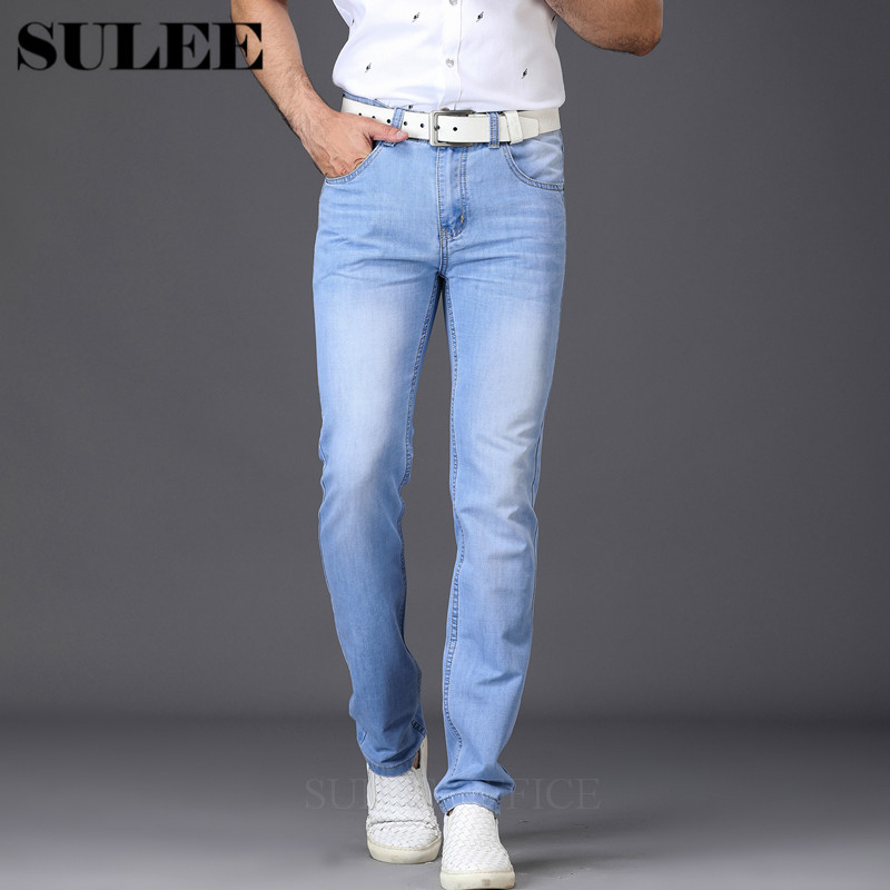 SULEE Brand 2017 New Fashion Utr Thin Light Mens Casual Summer Style Jeans Skinny Jeans Trousers Tight Pants Solid Colors