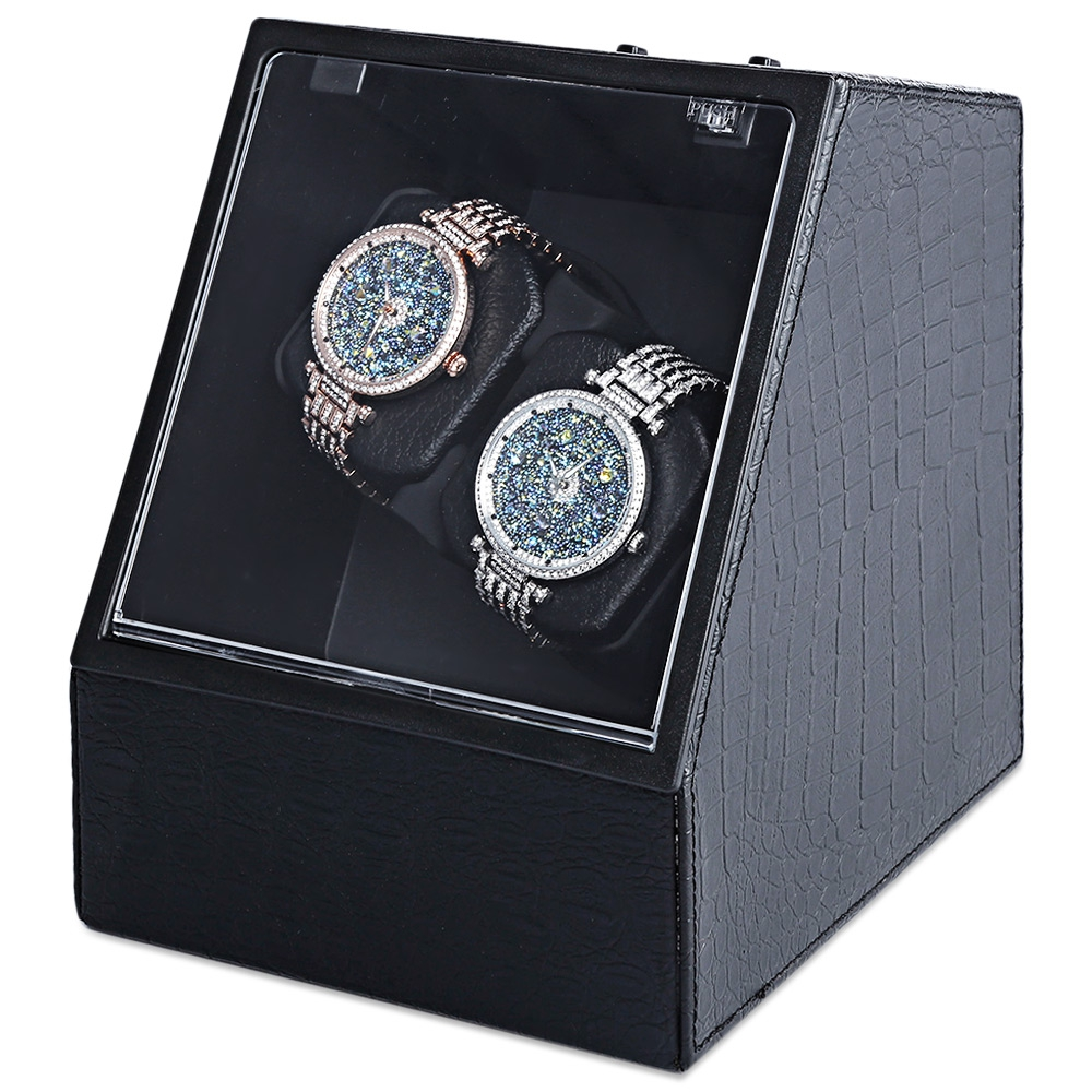 все цены на Automatic Watch Winder Auto Silent Watch Winder Irregular Shape Transparent Cover Wristwatch Box with US Plug