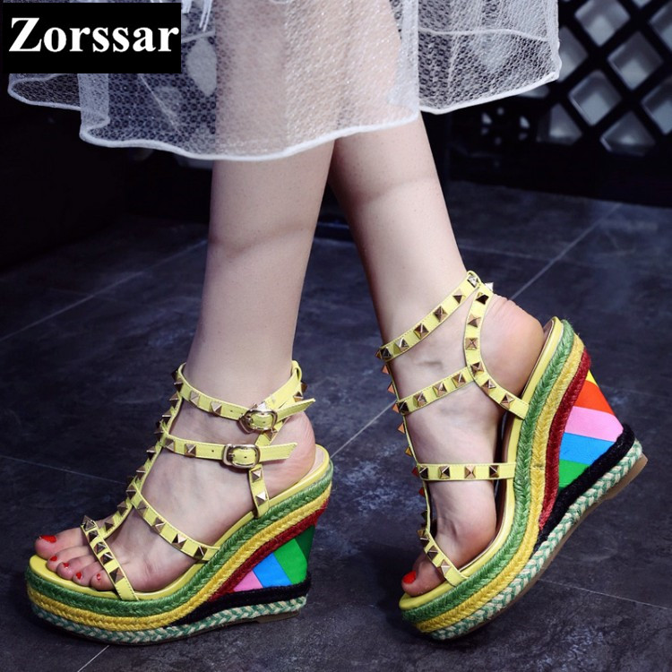 Summer shoes woman wedges sandals high heel platform women shoes yellow 2017 New fashion rivets peep toe womens pumps heels phyanic 2017 gladiator sandals gold silver shoes woman summer platform wedges glitters creepers casual women shoes phy3323