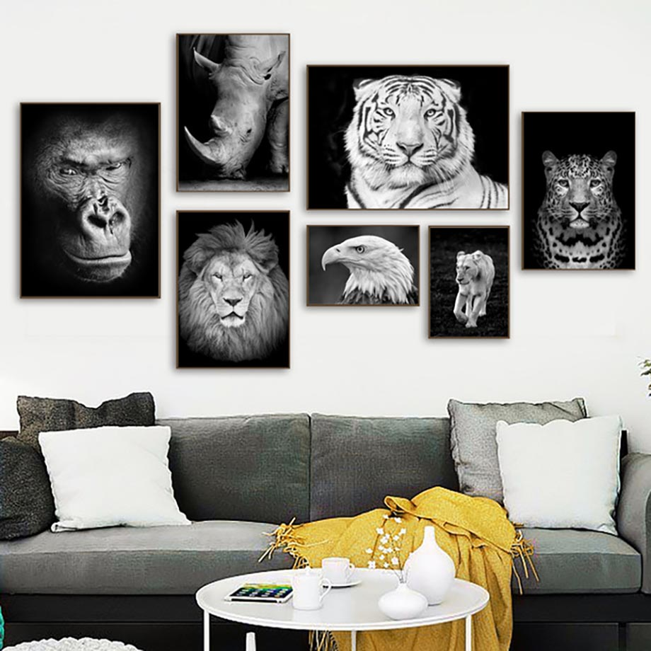 Home Decoration Art Wall Canvas Painting Nordic Lion Leopard Tiger Gorilla Eagle Poster Printed Animal Pictures For Living Room