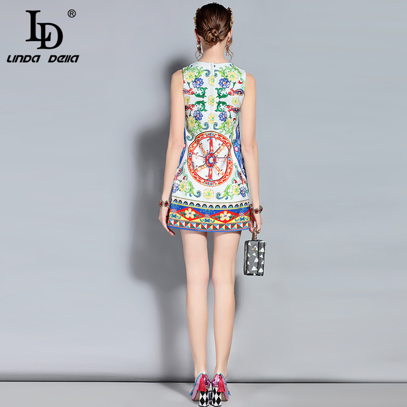 251963666ac LD LINDA DELLA New 2018 Designer Summer Dress Women s Sleeveless Luxury  Crystal Beading Floral Print Casual Mini Short Dress-in Dresses from Women s  ...