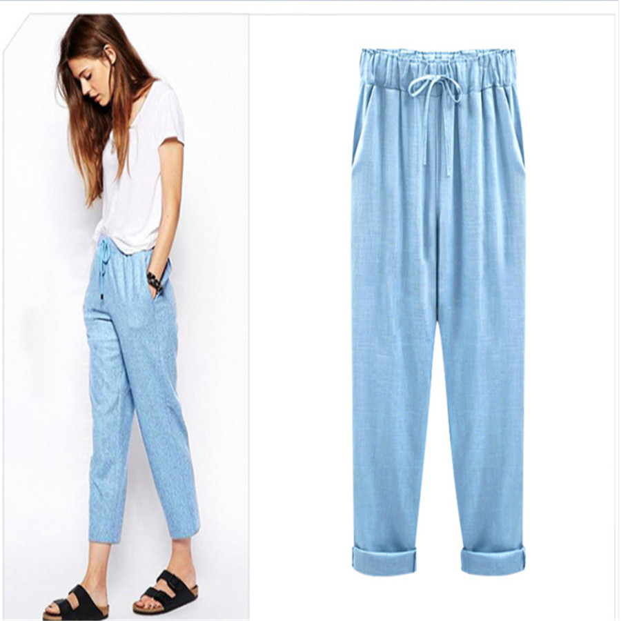 Womens   Pants   New Cotton Linen Summer   Pants   Trousers Elastic High Waist Korean   Capris   Lightweight Harem   Pants   Plus Size