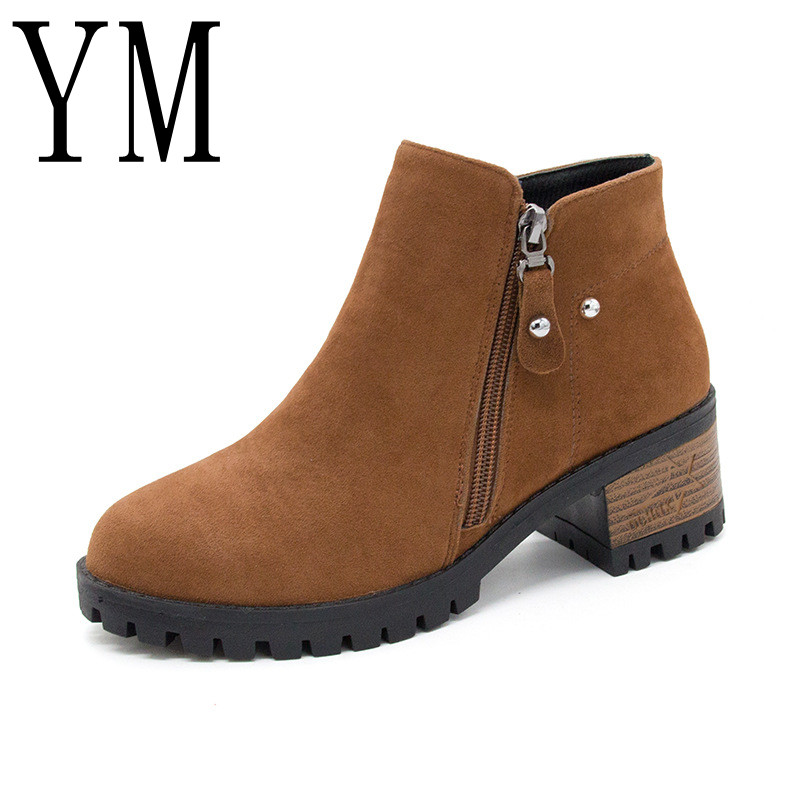 Womens Boots Autumn Winter Fashion chunky heels Ladies Shoes