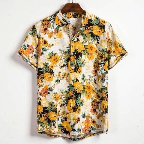 Men Linen Short Sleeve Shirt Summer Floral Loose Baggy Casual Holiday Shirts Tee Tops Multan