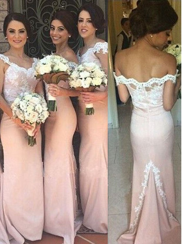 2017 Long Mermaid Blushing Bridesmaid Dresses Off The Shoulder Lace Y Formal Country Western Wedding Maids Of Honor Gowns In From