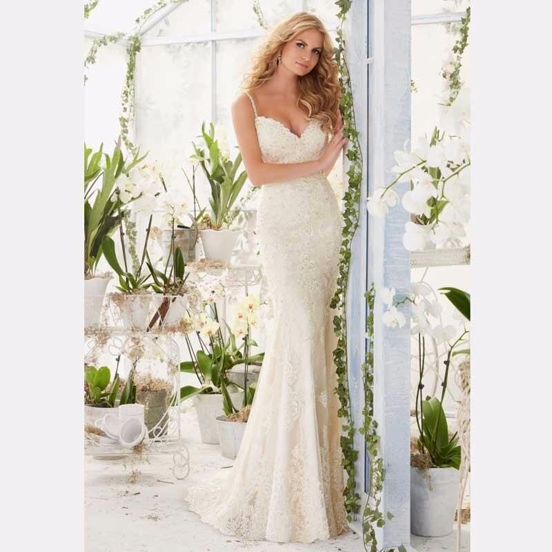 Spaghetti Strap Lace Mermaid Wedding Gowns: Vestido De Noiva Spaghetti Strap Lace Mermaid Wedding