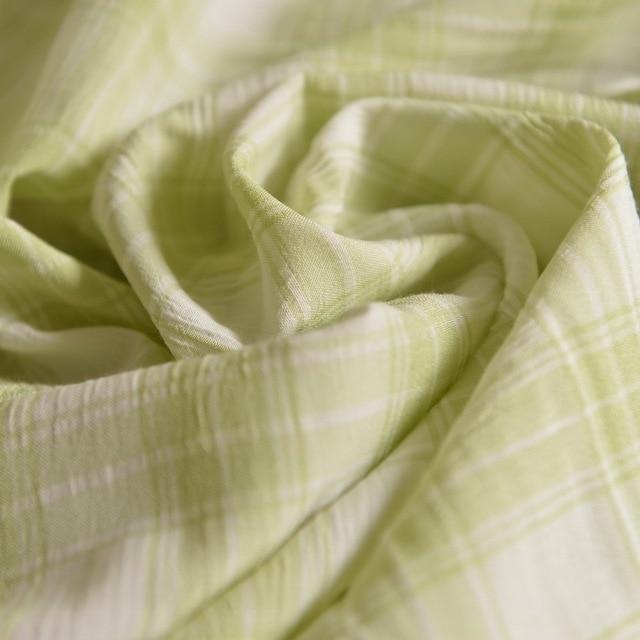 Drape Polyester Cotton Fabric Fresh Light Green Weave Lattice Comfort Micro  Wrinkle Texture Summer Clothing Shirt