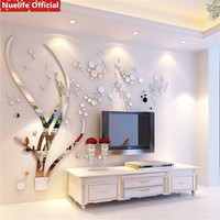 large Plant Grass Circle Pattern 3d Acrylic Mirror Sticker Bedroom Living Room Office TV Sofa Wall Decoration Wall Sticker