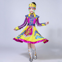Girls Yellow Mongolia Dress for Stage Chinese National Costumes Child Hmong Dance Clothing Kids Traditional Dance wear Outfit