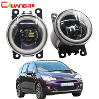 Cawanerl For Citroen C3 FC_ Hatchback 2005 2006 2007 2008 2009 2010 Car LED Fog Light Angel Eye Daytime Running Light DRL 12V