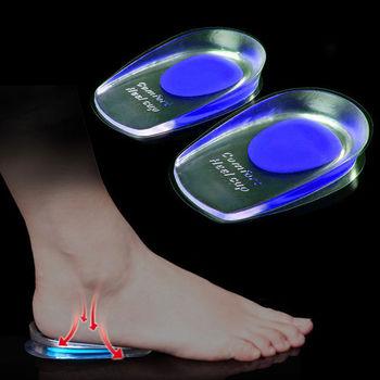 1 paire de semelles en Gel de Silicone souple pour les éperons du talon douleur coussin de pied masseur de pied soin demi talon semelle intérieure augmentation de la hauteur 1