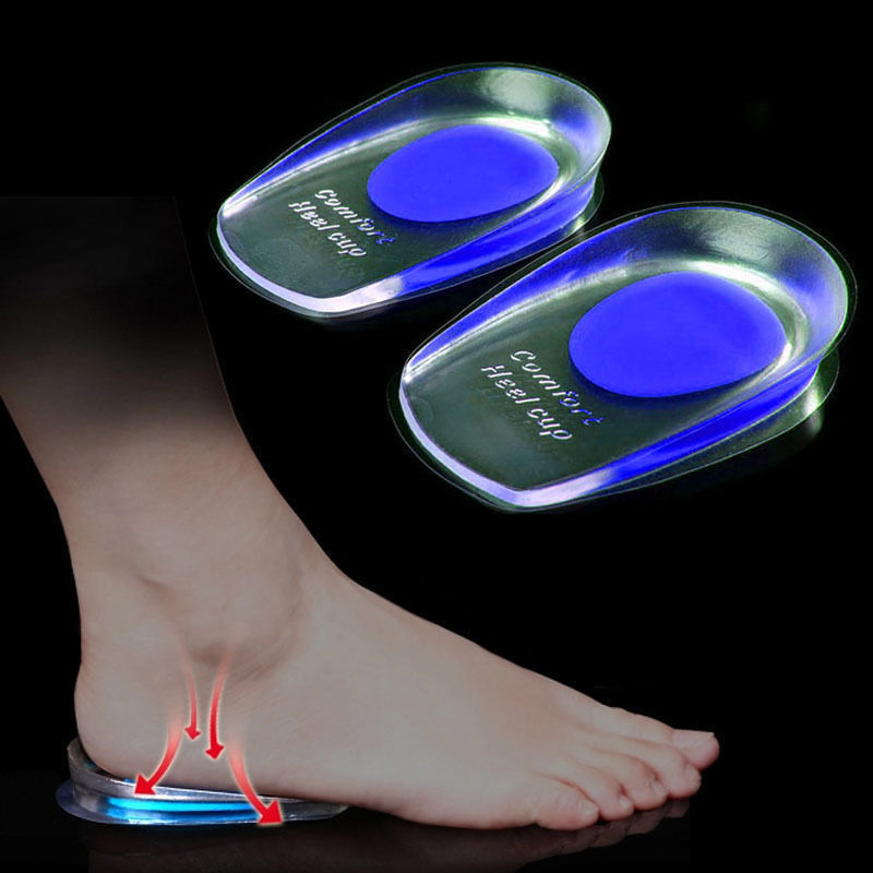 1pair Soft Silicone Gel Insoles For Heel Spurs Pain Foot Cushion Foot Massager Care Half Heel Insole Pad Height Increase