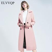 Korean Cashmere Coats And Jackets Women Winter Coat Slim Long Sleeve Woolen Coats Abrigos Mujer Invierno 2018 Elegante Overcoat