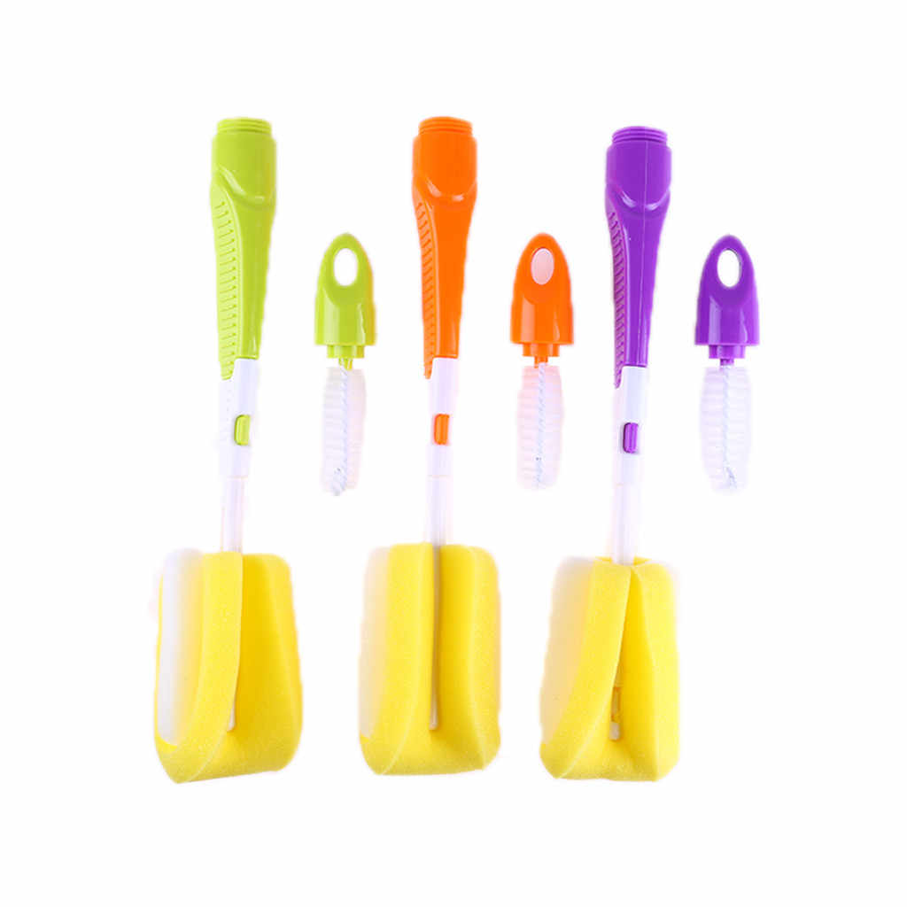 2 piezas bebé cepillos de botella pezón cepillos Caño tubo teta esponja bebé botella de alimentación de cepillo de limpieza cepillo conjunto de cepillo de copa
