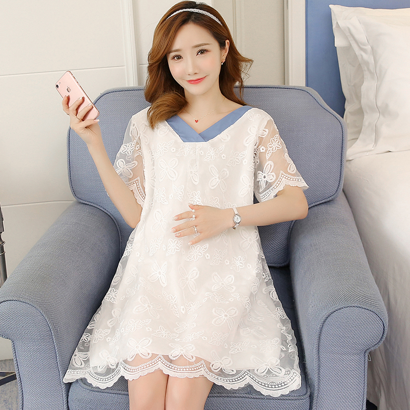 2018 Maternity Clothes Lace Pregnancy Dress Embroidery Cute Fashion Maternity Clothing Of Pregnant Women Chiffon White
